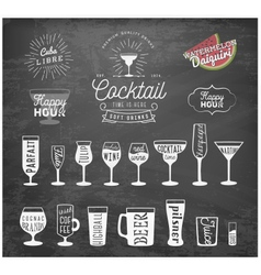 Typographical Drinks Design Elements on Chalkboard vector image