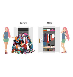 Untidy and after tidy wardrobe with a girl a lot vector