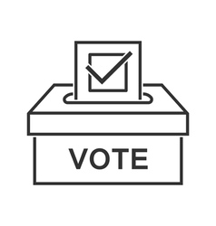 Voting paper with approved checkmark line icon vector