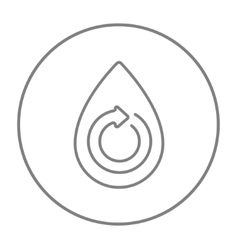 Water drop with circular arrow line icon vector image
