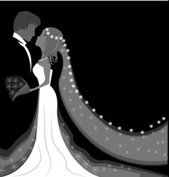 Wedding bride and groom background vector