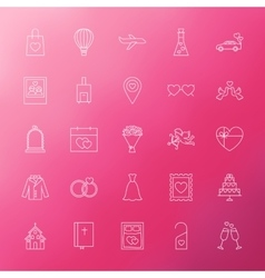 Wedding Engagement Line Icons vector