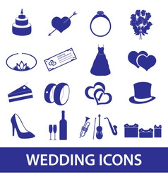 wedding icons set eps10 vector image