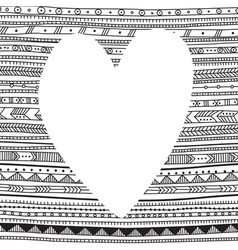 white heart on ethnic pattern background for your vector image