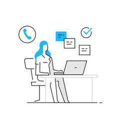 Woman in office at laptop business work orders vector