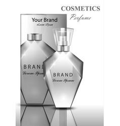 Women perfume bottle fragrance shiny transparent vector