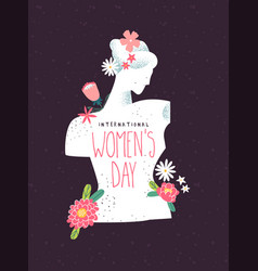 Womens day beautiful flower woman greeting card vector