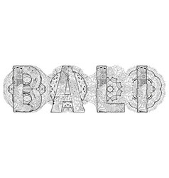 Word bali with mandalas decorative vector