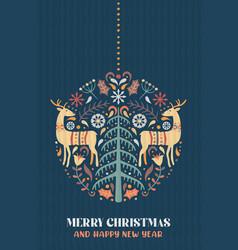 Year nordic deer pine tree card vector