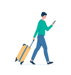 Young man using smartphone and walk to airport vector