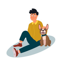 young man with dog sitting on floor vector image
