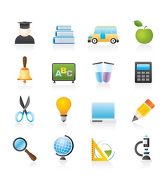 education and school icons vector image vector image