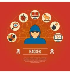 Hacker Concept Icons vector image