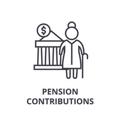 Pension contributions line icon outline sign vector