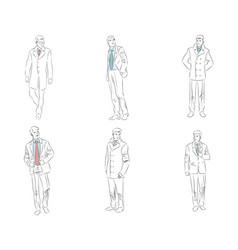 six businessman comtour vector image vector image