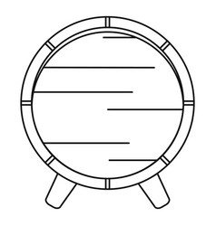 Wooden barrel on rack icon outline style vector