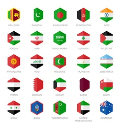 Asia middle east and south Asia Flag Icons Hexagon vector image vector image