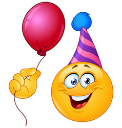 birthday emoticon with balloon vector image
