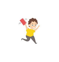 cartoon boy holding open book above head vector image