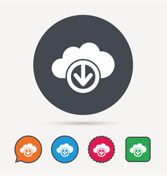 download from cloud icon data storage sign vector image