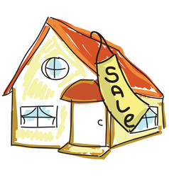 drawn colored house for sale vector image vector image