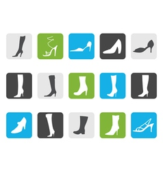 Flat shoe and boot icons vector image vector image