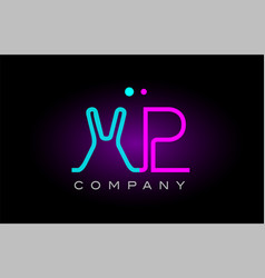 neon lights alphabet xp x p letter logo icon vector image vector image