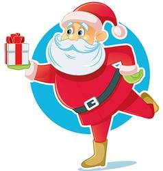 Santa Claus Holding Gift Box vector image vector image