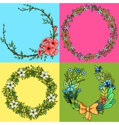 Set of four floral cartoon wreathes vector image vector image