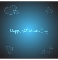 Valentines card with stylish hearts on brigth blue vector image