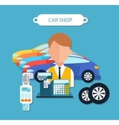 Car shop concept flat design style vector