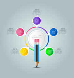 education infographics template 5 step option vector image