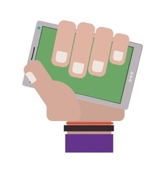 hand holding cellphone with purple sleeve vector image