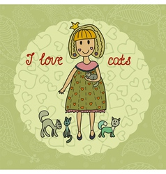 i love cats vector image vector image