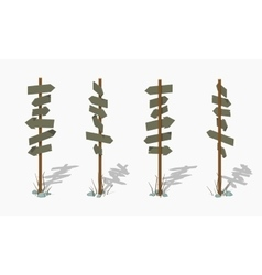 Low poly wooden signpost with the blank arrows vector image