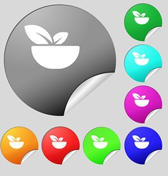 Organic food icon sign Set of eight multi colored vector image