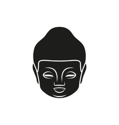 Simple black Buddha face or head style icon vector image