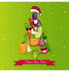 vegan new year tree vector image