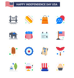 16 usa flat signs independence day celebration vector