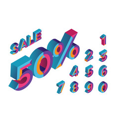 50 percent sale 0 1 2 3 4 5 6 7 8 9 vector image