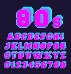 80s alphabet font design set of letters and vector image