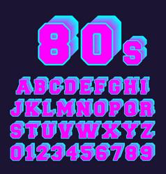 80s alphabet font design set of letters vector