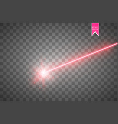 Abstract red laser beam isolated on transparent vector