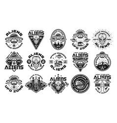 Aliens and ufo set monochrome emblems vector