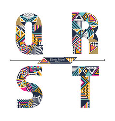 Alphabet ethnic tribal style in a set qrst vector