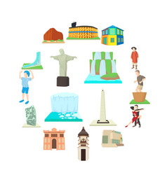 argentina travel icons set cartoon style vector image