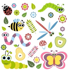 Background with cartoon insects flowers leaves vector image vector image