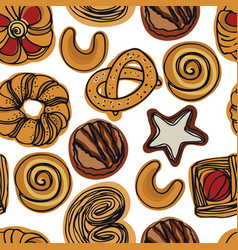 Bakery pretzels and biscuits seamless pattern vector