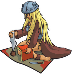 Beautiful viking healer vector