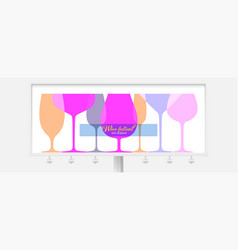 billboard with different wine glasses outline vector image